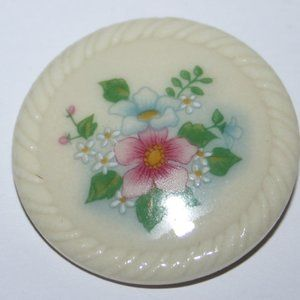 Vintage white ceramic flower Avon Brooch